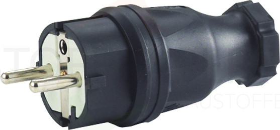 Schuko-Stecker, Gummi-Ausführung, schwarz, 250V, Hedi