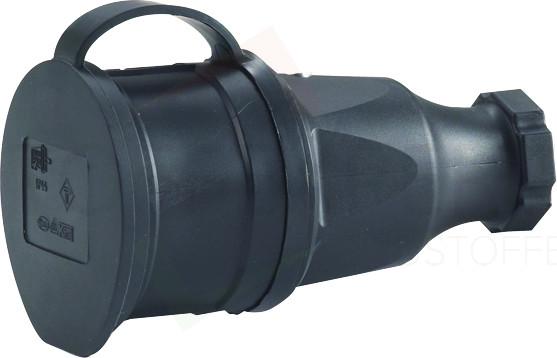 Schuko-Kupplung, Gummi-Ausführung, schwarz, 250V, Hedi