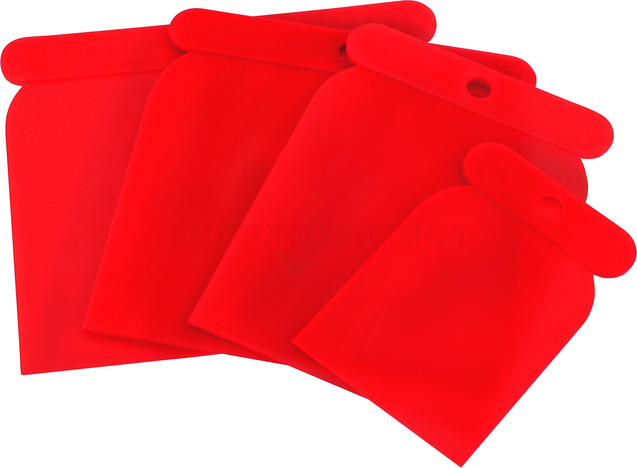Japanspachtel-Satz aus Kunststoff, rot, 4-teilig