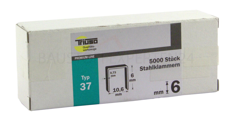Tackerklammern Typ 37 / 6mm, 5000 Stück, Premium