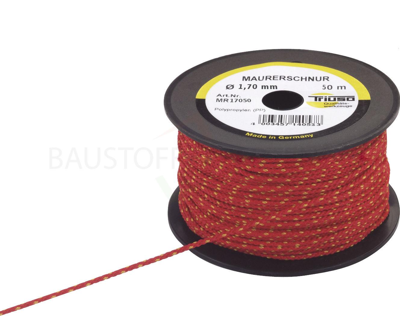 Maurerschnur Premium, rot, 1,7mm x 50m