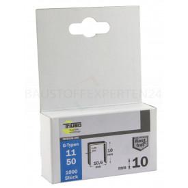 Tackerklammern Edelstahl Typ 11 / 10mm, 1000 Stück, Premium