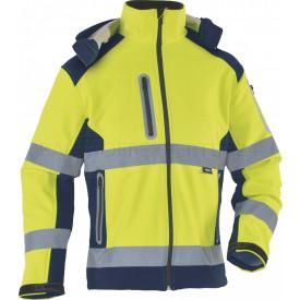 Softshelljacke, Warnschutz, leuchtgelb / marineblau, Klasse 2