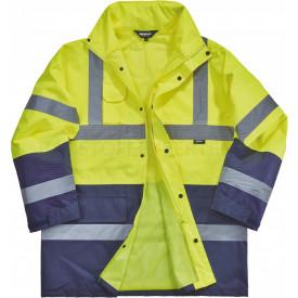 Regenjacke, Warnschutz, leuchtgelb / marineblau