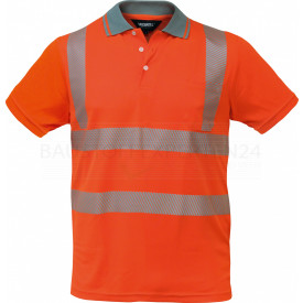 Coolpass-Poloshirt, Warnschutz, leuchtorange, 3M-Reflektoren