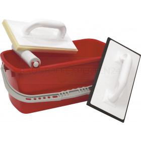 Fliesen-Waschset Premium, 3-teilig, 10l Eimer, Hydro-Waschbrett, Fugbrett