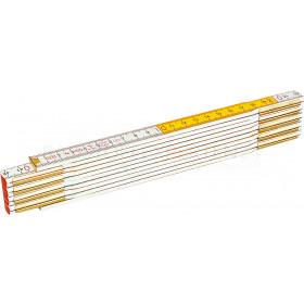 Meterstab, Gliedermaßstab, Zollstock, 2m, gelb-weiß, Holz