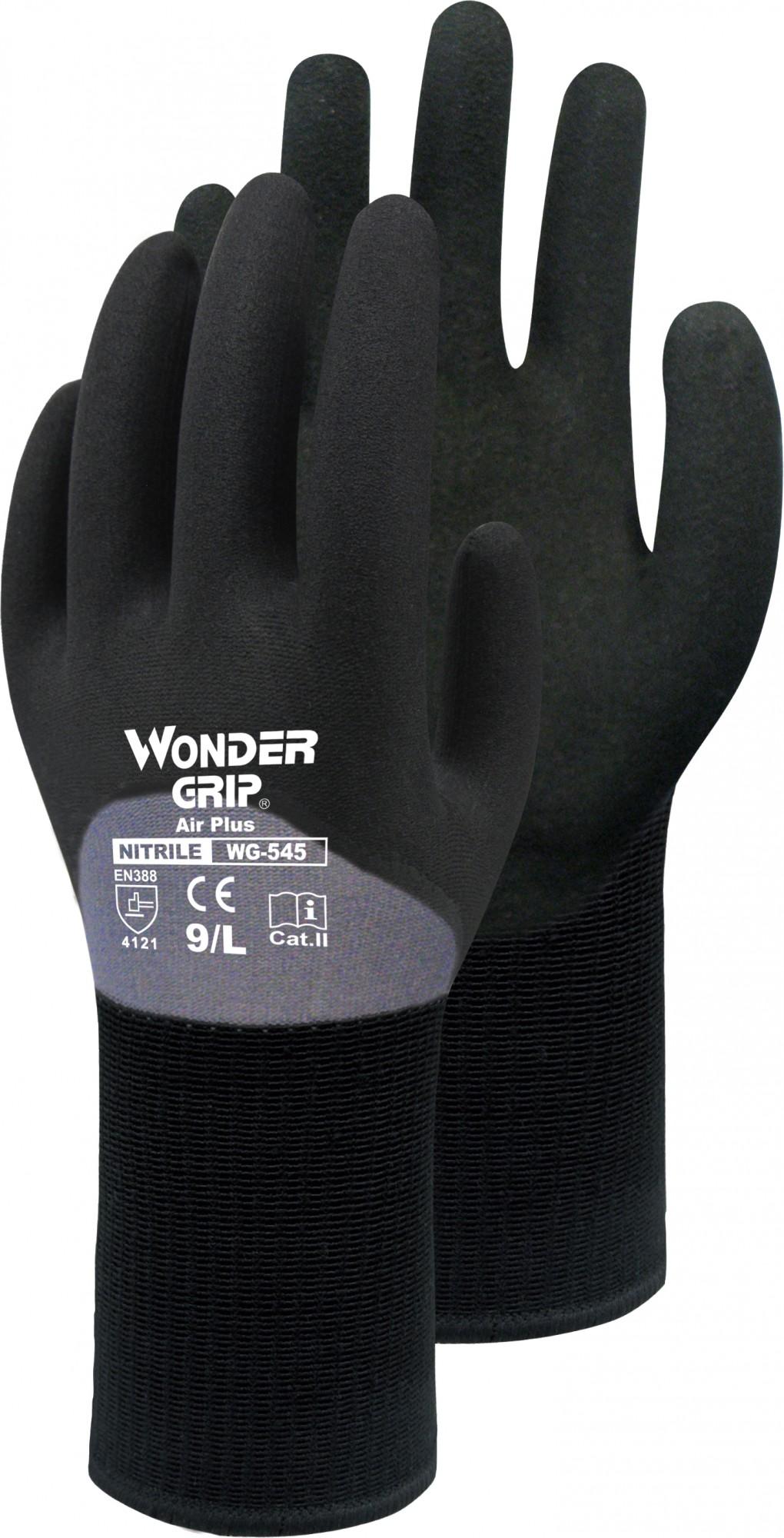 handschuhe wonder grip air plus 545 mit nitril schwarz. Black Bedroom Furniture Sets. Home Design Ideas